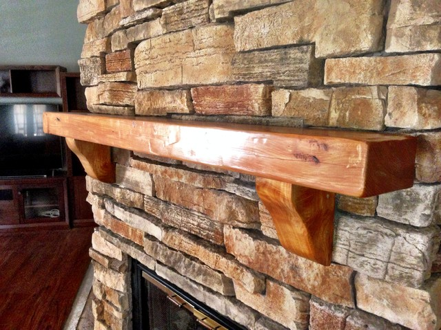 Chunky European Cedar Wood Fireplace Mantel Rustic