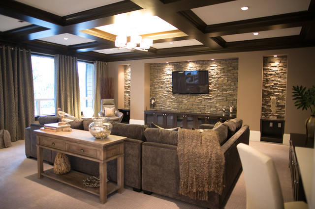 City glam in the country contemporary family room for Den living room designs