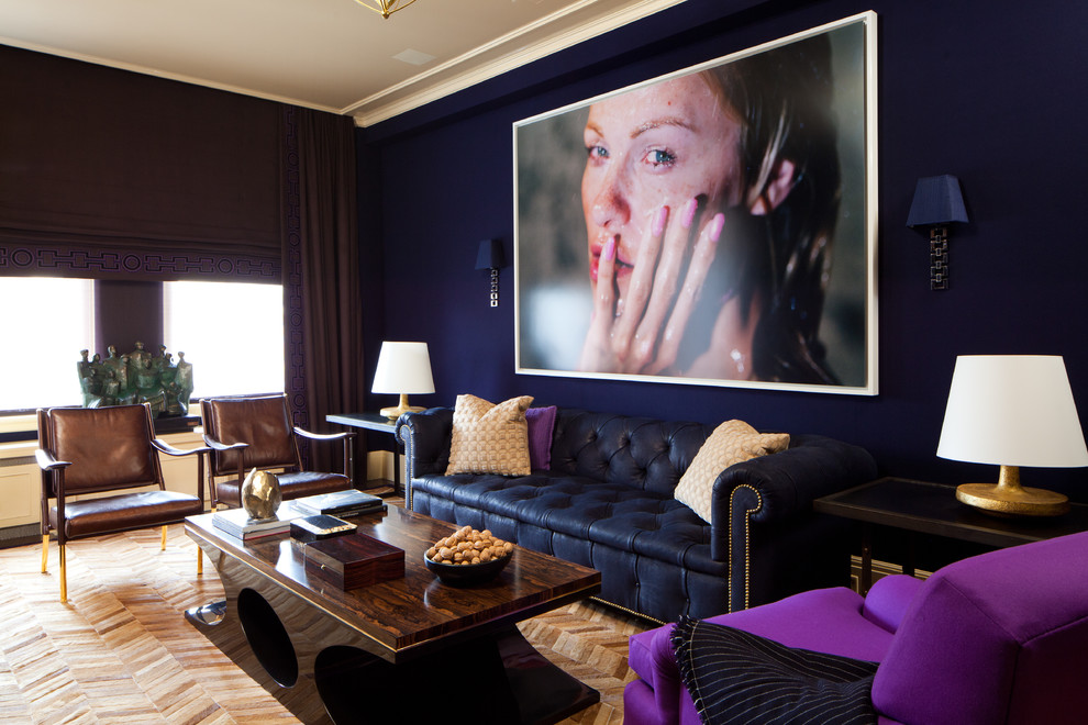 Inspiration for a contemporary family room remodel in New York with blue walls