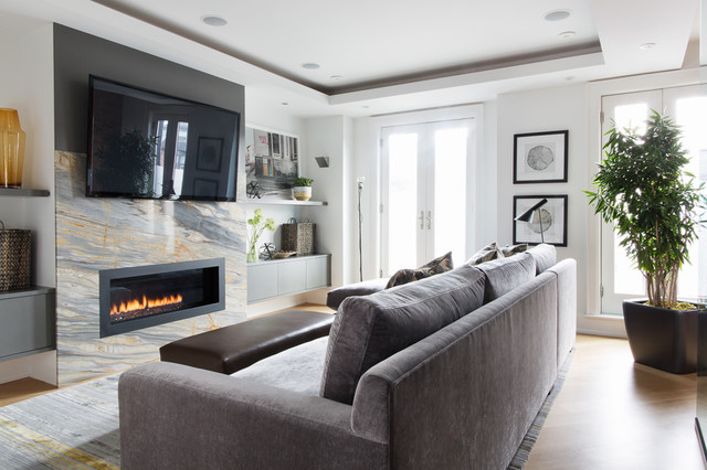 City Row House Contemporary Family Room Toronto By Lischkoff Design Planning