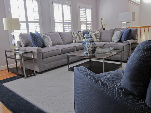 CLASSIC GRAY AND NAVY FAMILY ROOM Transitional Family Room Part 44