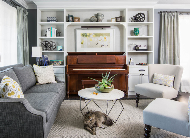 Clean crisp contemporary transitional family room for Piano for small space