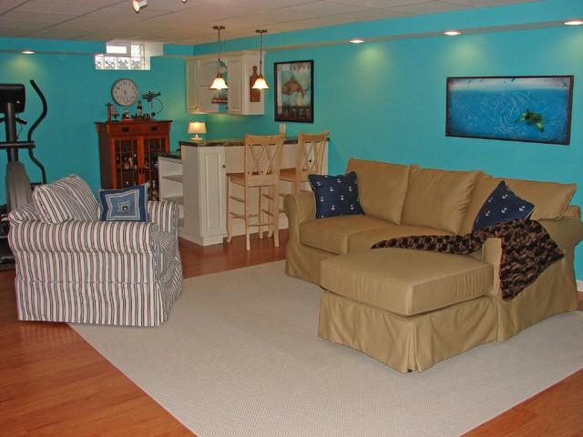 Coastal Cottage Basement Redo - Eclectic - Family Room - new york