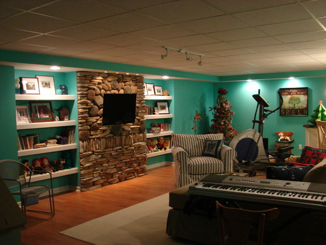 Coastal Cottage Basement Redo eclectic-family-room