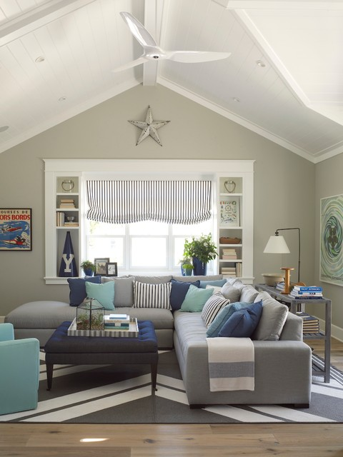 Genial Coastal Family Room Photo In San Diego With Gray Walls