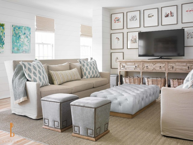 Example Of A Huge Coastal Open Concept Light Wood Floor Family Room Design  In Miami With