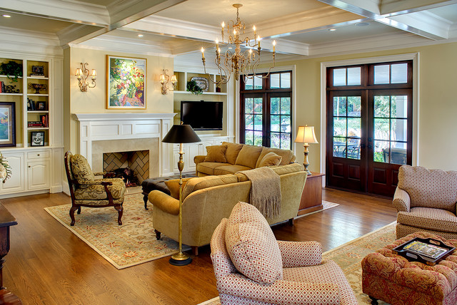 Coffered Ceiling Family room traditional family room