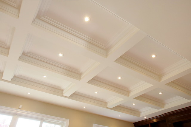 White bathroom vanities ideas - Coffered Ceiling Plaster Traditional Family Room