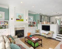 Colorful and Cheery Family Room transitional family room