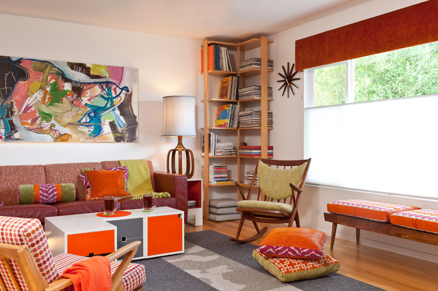 colorful mid century modern residence midcentury family room - San Francisco Mid Century Modern Furniture