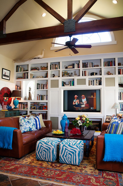 Colorful Ranch eclectic family room