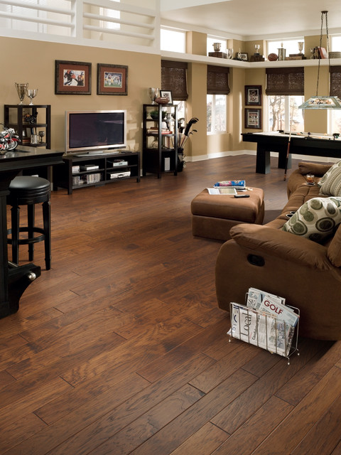 Game Room Flooring : Comfortable open game room with pool table and hardwood