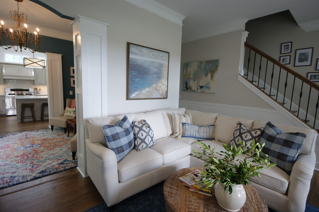 Example of a transitional family room design in Atlanta
