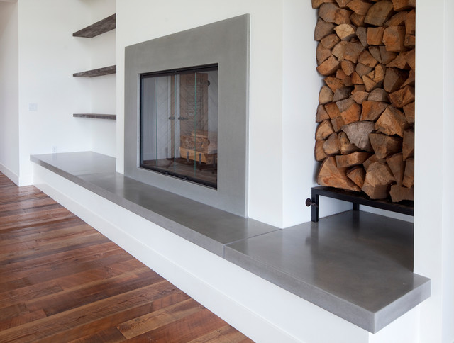 Concrete Fireplace Modern Family Room Seattle By Sound Concrete Countertops