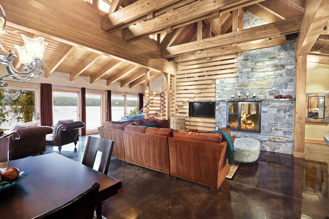 Concrete Floored Abode - a cabin on Lake Wenatchee contemporary family room