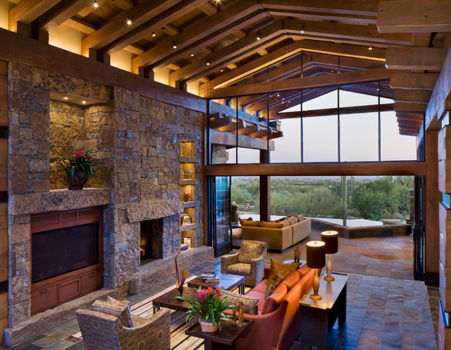 Modern Post And Beam Contemporary Family Room