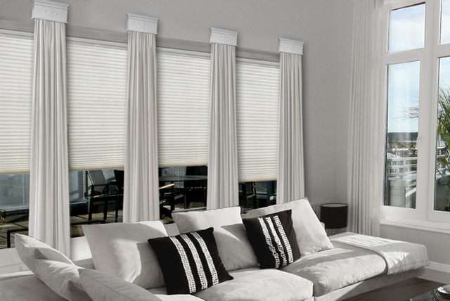 Contemporary Cornice Window Treatments contemporary-family-room