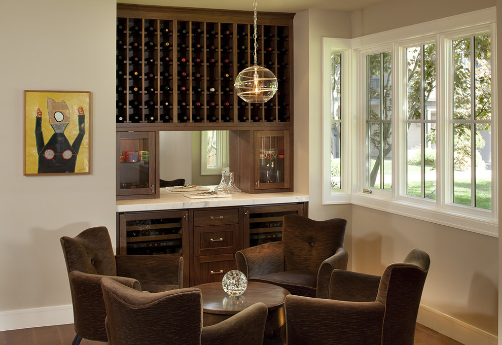 Inspiration for a contemporary family room remodel in San Francisco with a bar and beige walls