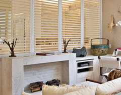 Blinds.com Brand Track Fauxwood Shutter contemporary family room