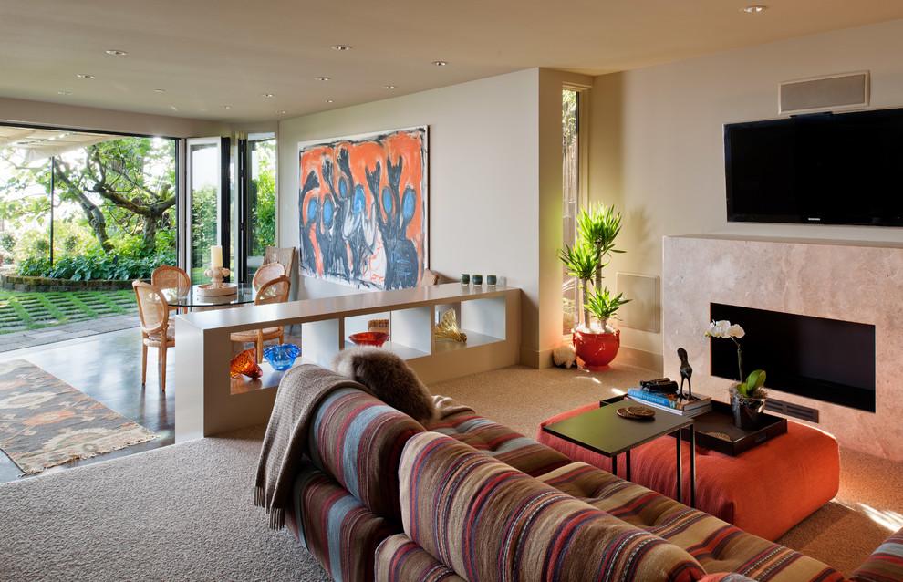 Trendy concrete floor family room photo in Seattle