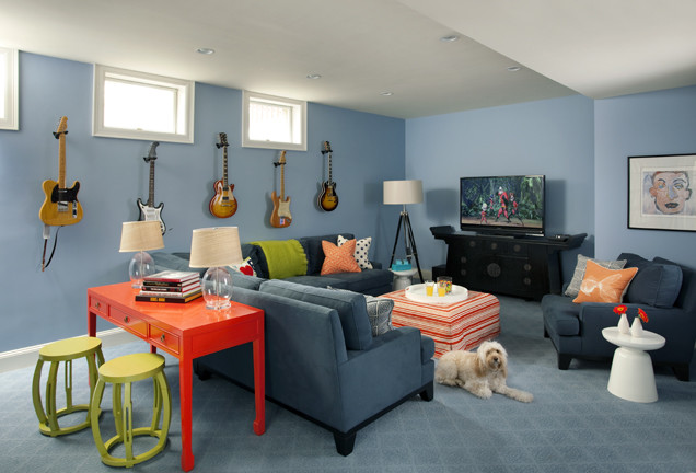 Basement Family Room Rec Room Contemporary Family