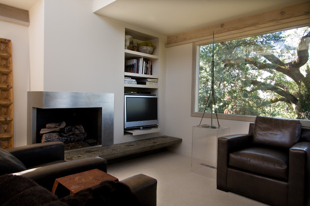 Contemporary Living Room With Corner Fireplace