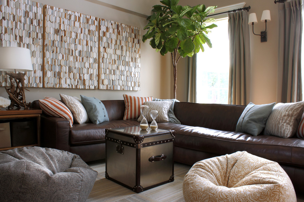Family room - contemporary family room idea in Chicago with beige walls