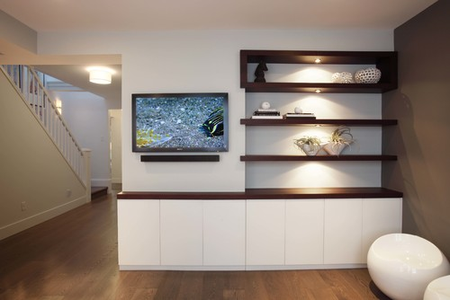 Unique idea for a built-in entertainment center with open shelves.