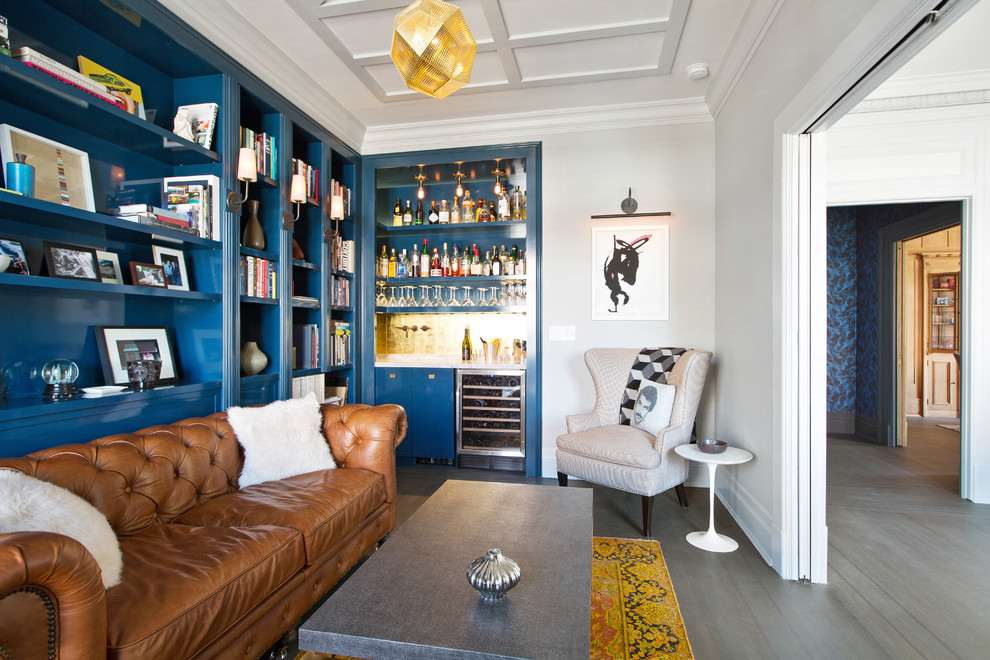 Inspiration for a mid-sized contemporary family room remodel in San Francisco with a bar