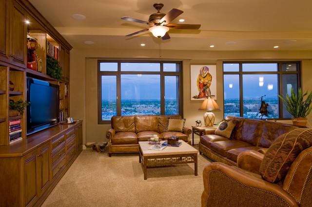 contemporary western interior family media room penthouse