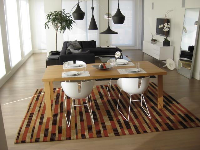 Coordinating Rugs in Portland condo modern-family-room