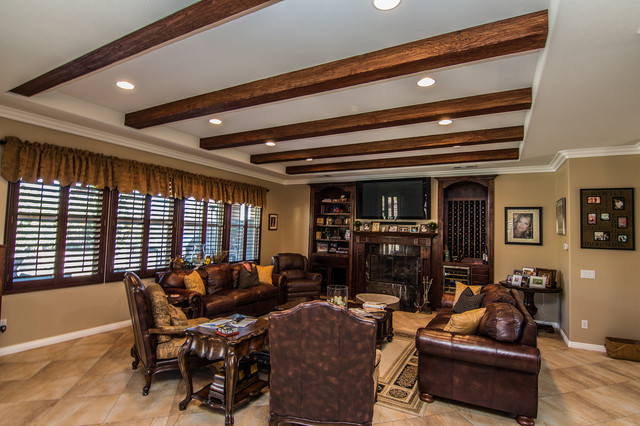 Corona New Coffer Ceiling With Wood Beams Traditional Family Room