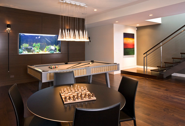 Cortland residence modern family room chicago by for Rec room ideas for small rooms