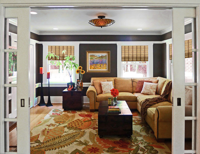 country chic family and media room traditional family