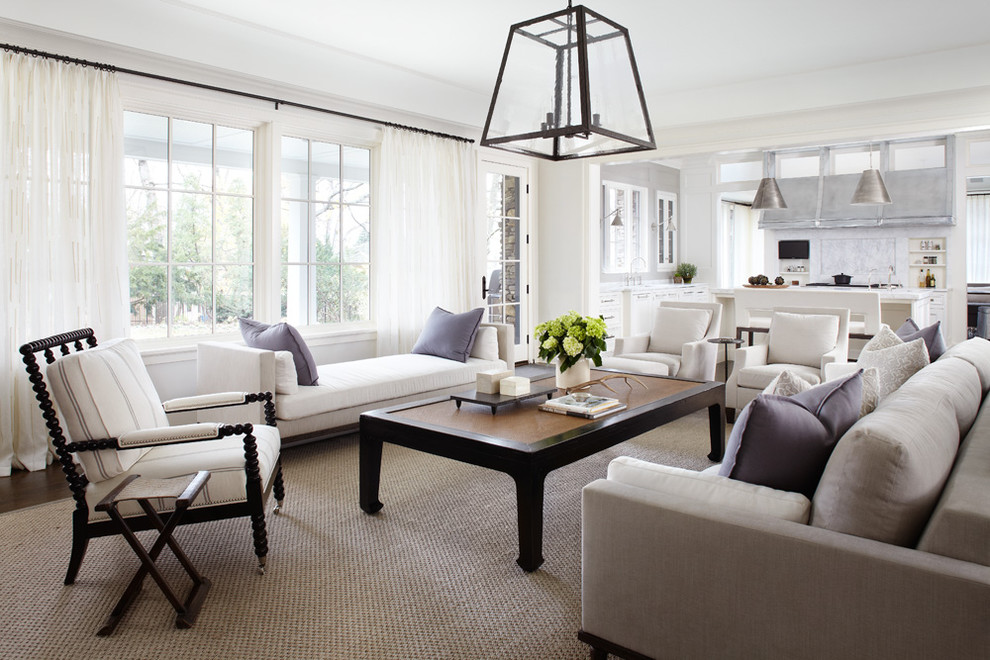 Family room - transitional open concept carpeted family room idea in Chicago with white walls