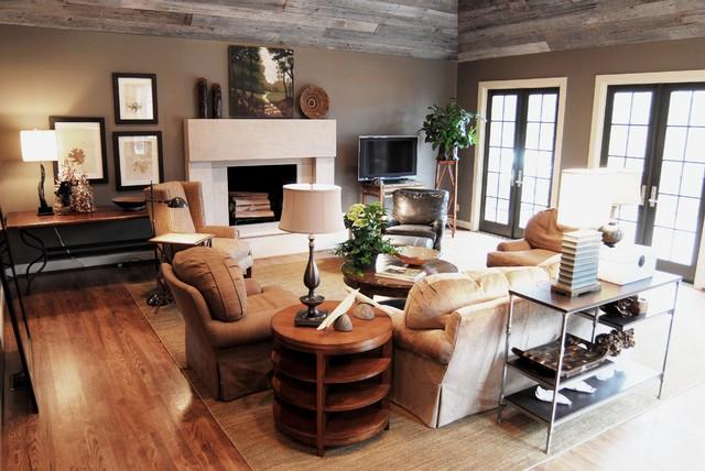Cozy Family Room W Reclaimed Barn Siding Ceiling