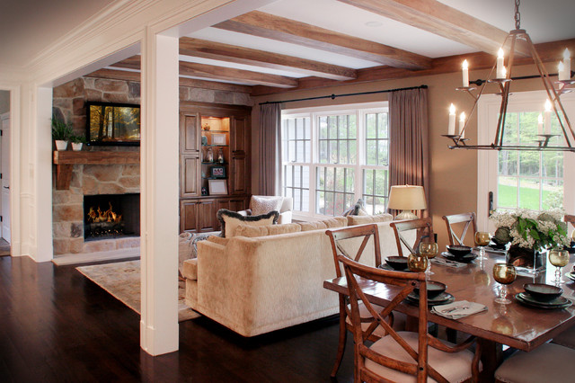 Cozy hearth and casual family eating area contemporary for Family area interior design