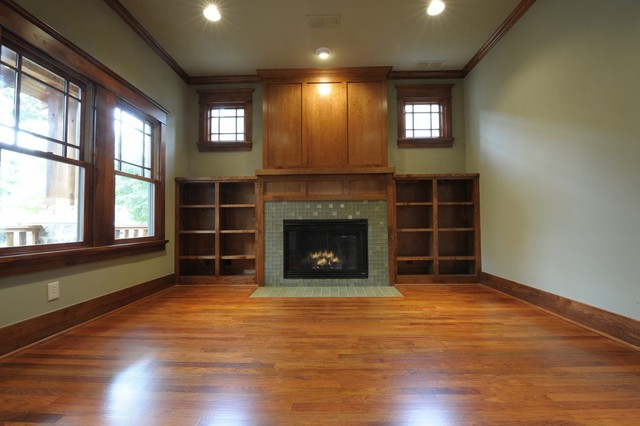 Vickery craftsman craftsman family room dallas by for Craftsman fireplaces photos