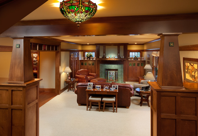 Craftsman home craftsman family room columbus by for Craftsman house interior