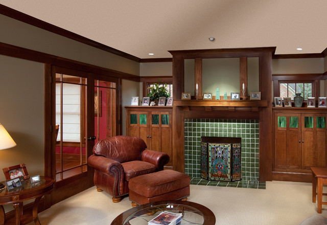 traditional family room by Andrew Melaragno, AIBD  Pantone Color of 2013: Emerald Decorations traditional family room