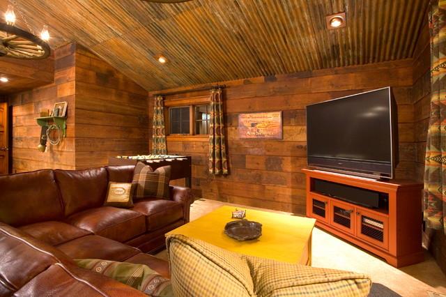 Crosswater ski lodge rustic family room portland - Using corrugated metal for interior walls ...