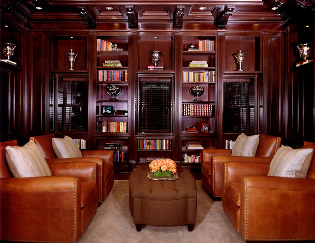 Ct residence two story mahogany library millwork for Mahogany living room ideas