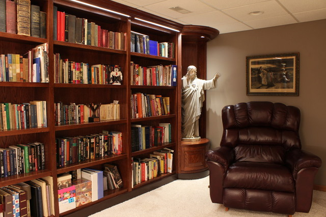 custom bookshelves for private library contemporary family room chicago by altare design. Black Bedroom Furniture Sets. Home Design Ideas