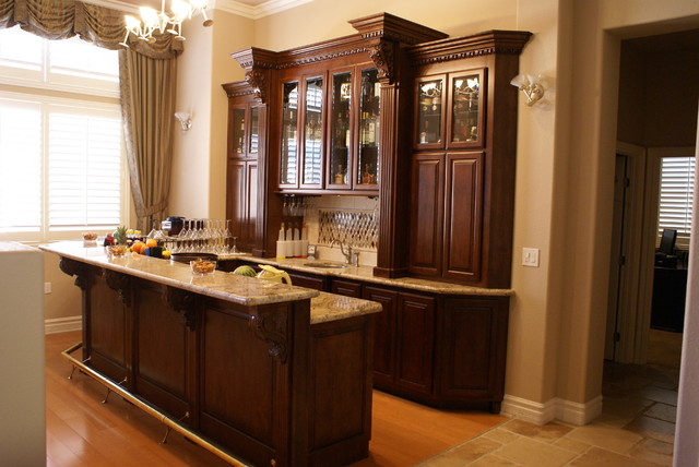 Custom built in bar after traditional family room - Built in home bar ...