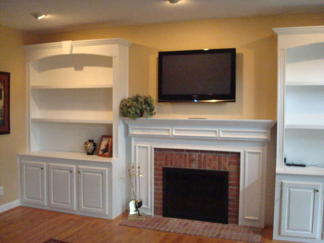 Custom built in cabinet traditional family room for Built in kitchen cabinets