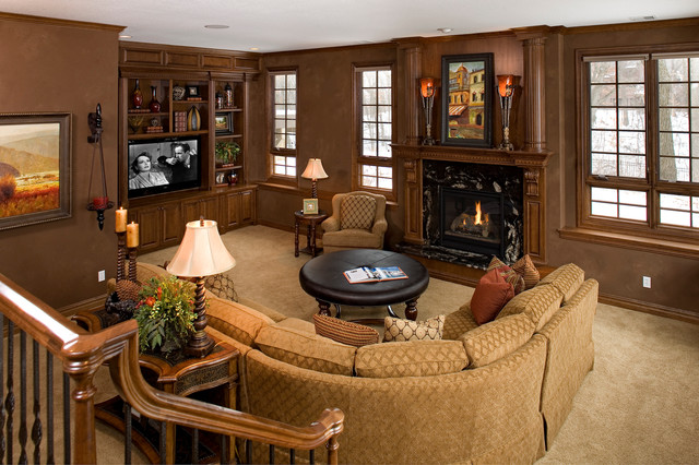 Custom Built Ins And Fireplace Traditional Family Room