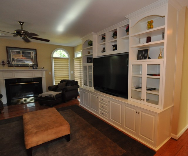 Custom cabinets entertainment center media tv center traditional