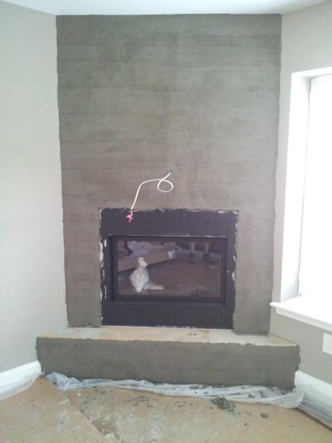 Custom Corner Stone Direct Fireplace Family Room