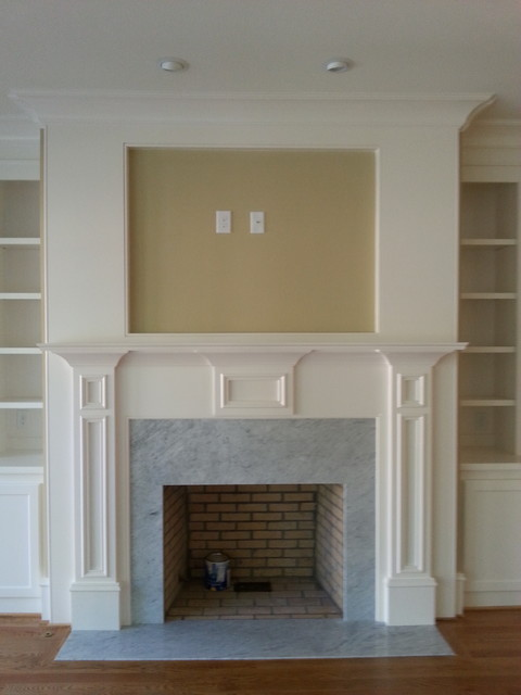 Custom Fireplace Mantle W Recessed Opening And Side Built