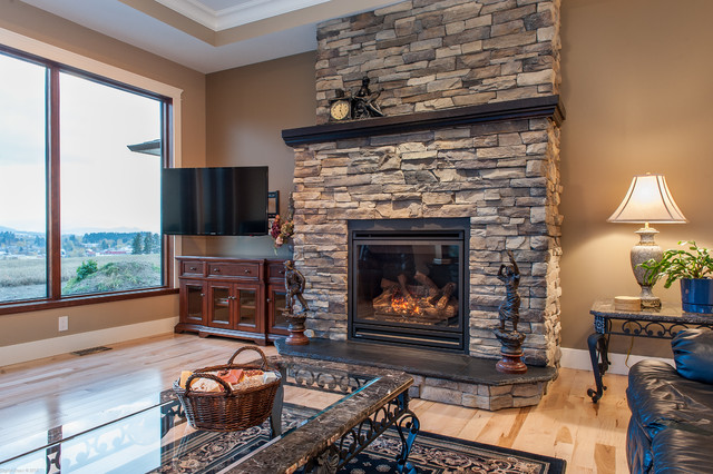 Custom Fireplace With Summit Uintah Ledgestone Traditional Family Room